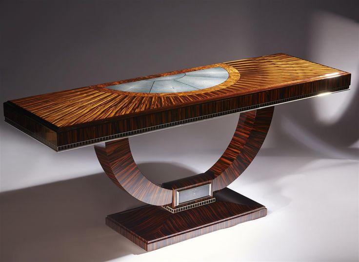 Macassar Ebony, Burr Walnut , black Ebony and Shagreen Console Table with Nickel trim by Boucher & Co