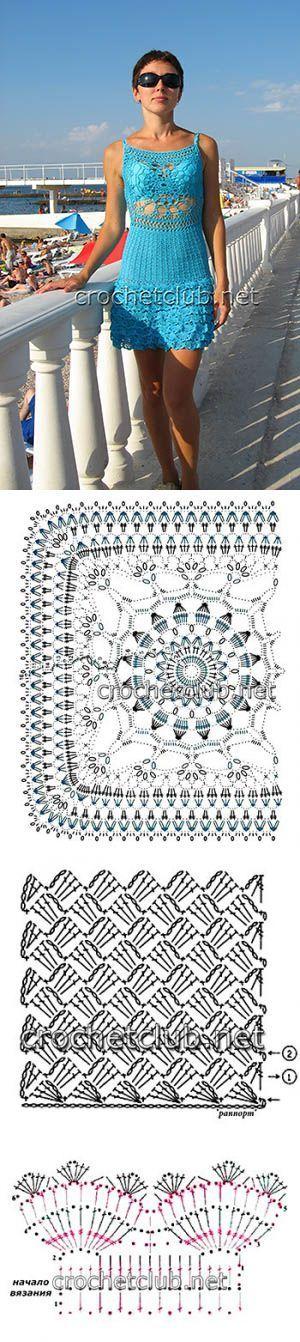 Пляжный сарафан крючком - Вязание Крючком. Блог Настика | вязание | Постила: