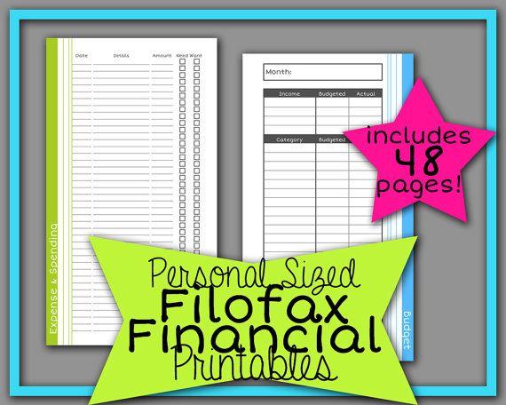 filofax personal finance planner refill printables in blue