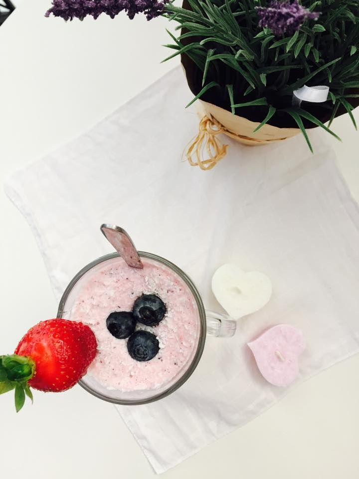 blueberries- raspberries smoothie with grated coconut and honey