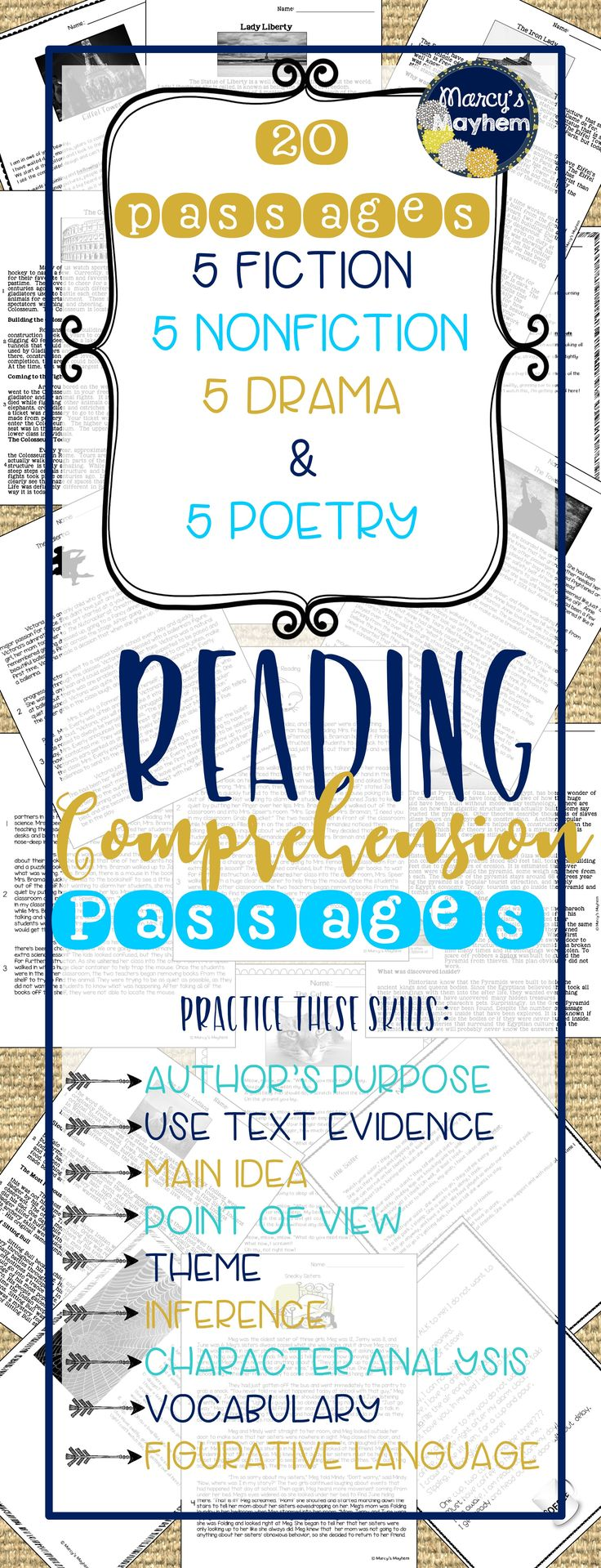 Reading Comprehension Bundle to use for Close reading. This packet contains 5 Fiction, 5 Nonfiction, 5 Drama & 5 Poetry passages. Multiple choice and short answers available. Great for 4th & 5th grade test prep!