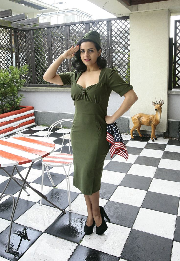 Fall in love with the Forties with this gorgeous new Military inspired Cadette Dress. http://www.raspberryheels.com/shop/produkt,en,dresses,sukienka-cadette.html