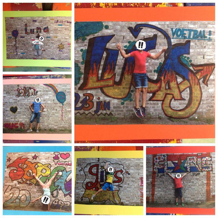 Verjaardagskalender in BBB Maak van de kinderen een foto voor een muur, print dit uit, geef instructie over grafitti letters tekenen (ik heb er een prezi presentatie over gemaakt) en ze kunnen aan de slag. Eerst schetsen en daarna op de foto met potlood tekenen en inkleuren met stift. Ze zijn bij mijn groep stuk voor stuk heel mooi geworden.