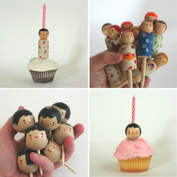 little wooden cupcake toppers! available from The small object. http://www.etsy.com/shop/thesmallobject?