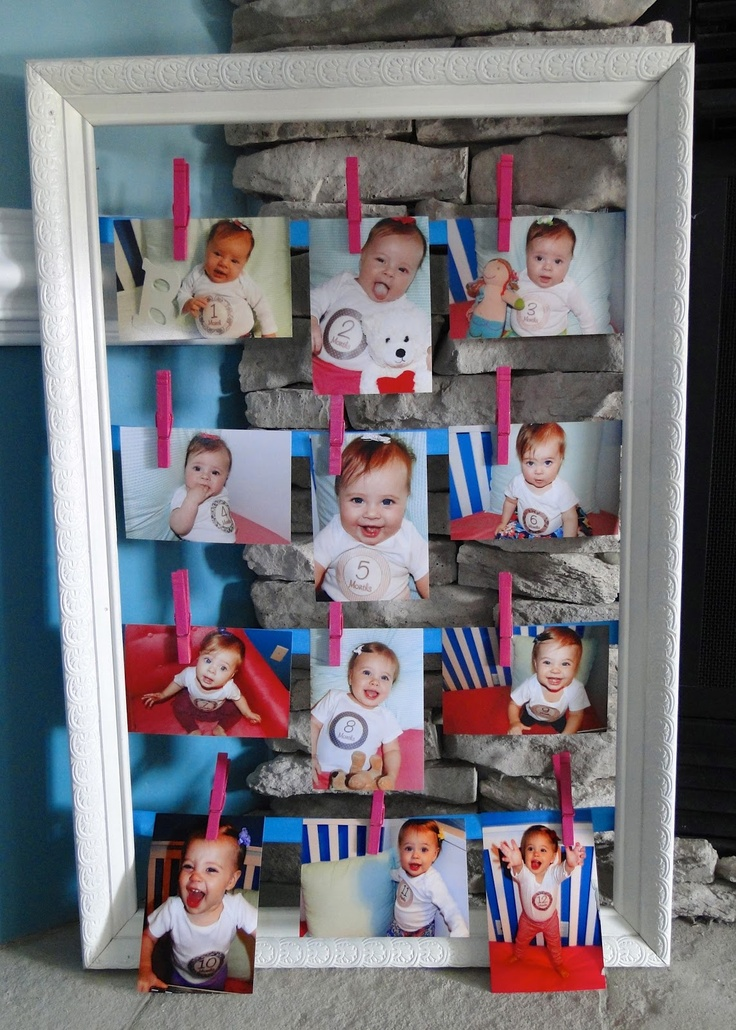1st birthday monthly picture display snowflake theme