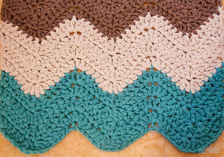 Sweet&Knit: Tutorial de Alfombra de Ganchillo XXL Rectangular Ripple