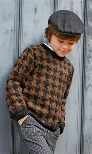 Bergere de France Round Collar Sweater Pattern. 4-12 years