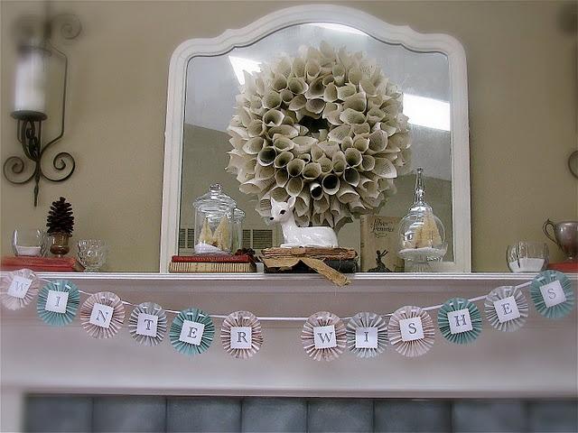 Paper wreath on mirror......