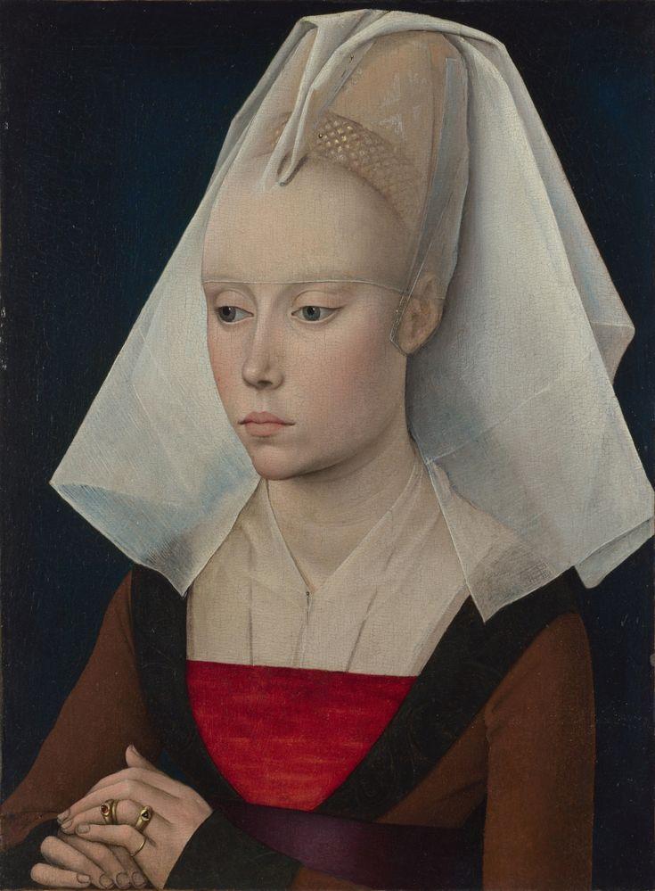 Średniowieczne ślicznotki, czyli jak to z tym pięknem i higieną w średniowieczu było  Warsztat Rogiera van der Weydena Portret kobiety | ok. 1460, olej z temperą jajeczną na desce dębowej, 37 x 27.1 cm, National Gallery, Londyn