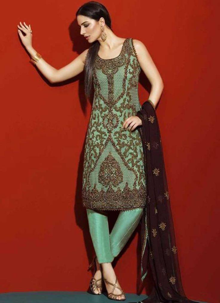 Sea Green Embroidery Work Georgette Designer Fancy Pakistani Suit. Buy online shopping salwar kameez at - USA.