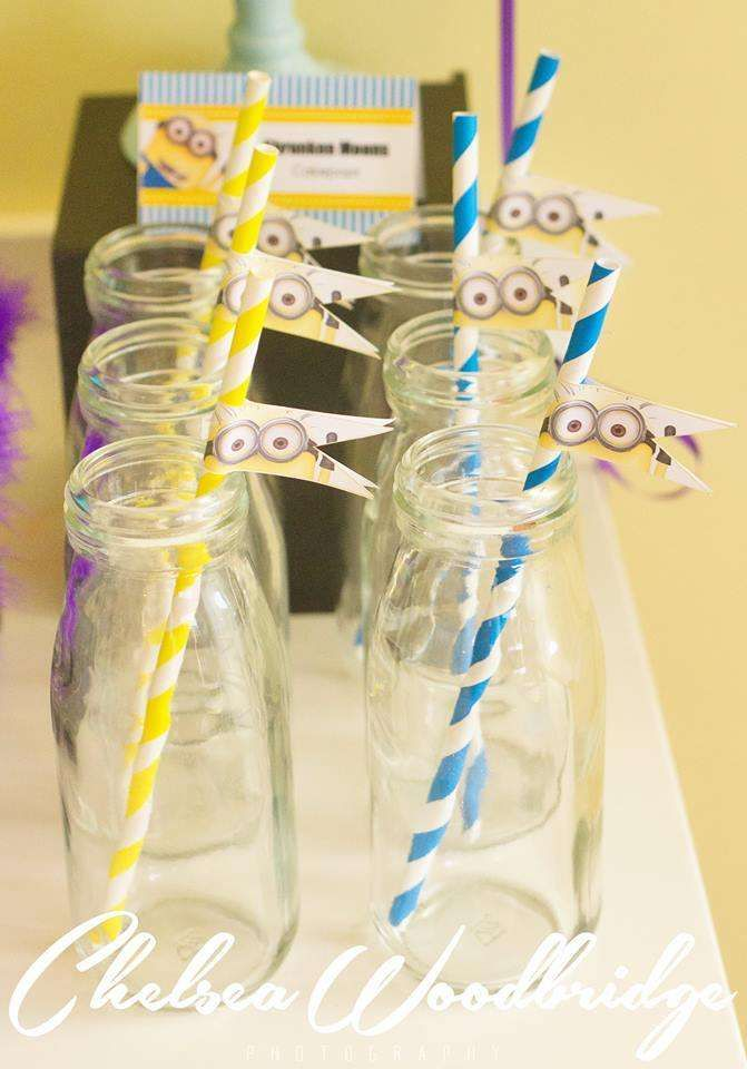 Minion Despicable Me birthday party drinks! See more party planning ideas at CatchMyParty.com!