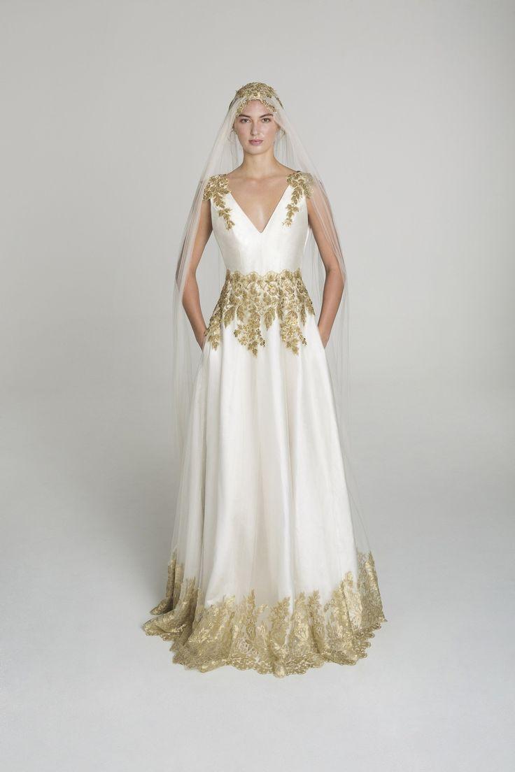 photo of Gold applique wedding dress from Alana Aoun