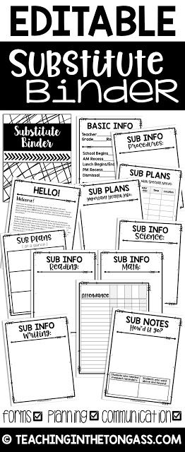 This Editable Sub Binder includes everything you need to put together a sub binder or sub tub for the year! I've included basic headers in a modern black and white design and some of my own examples, so all you need to do is add your own information to complete your custom substitute binder!