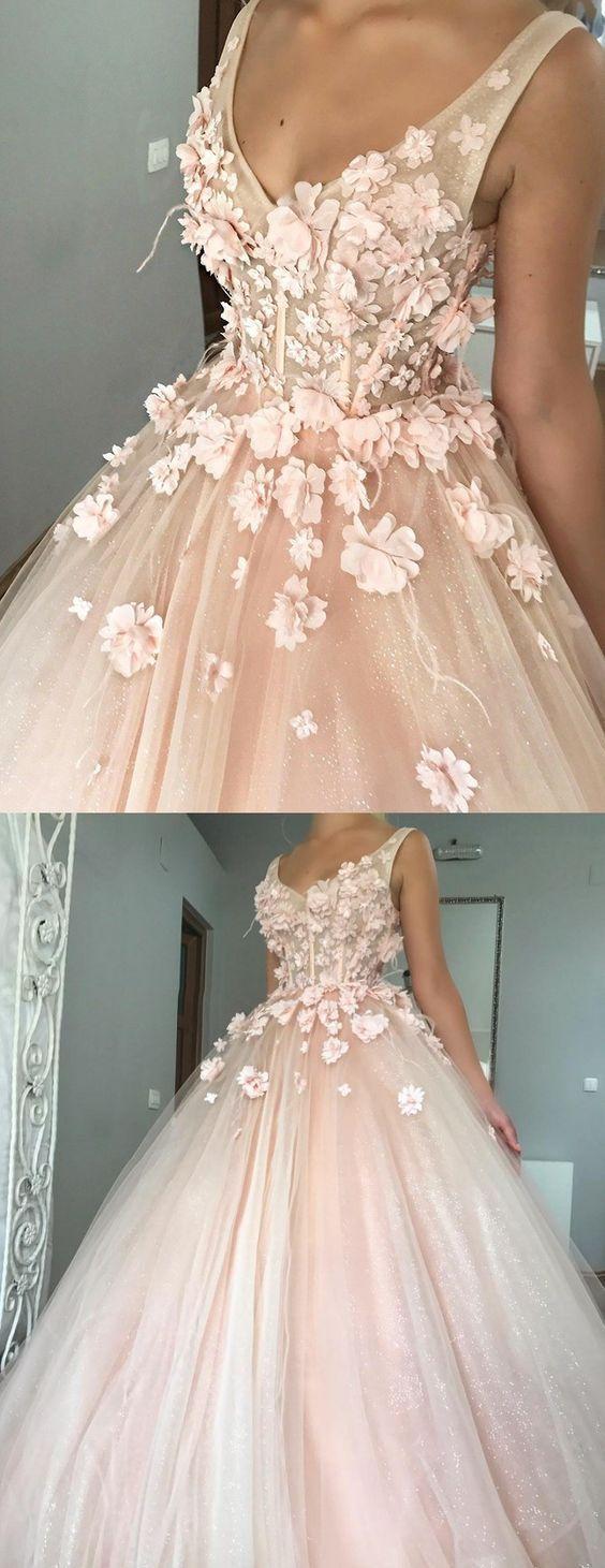 Abiti da ballo con perline in abito da ballo rosa pera con fiori fatti a mano