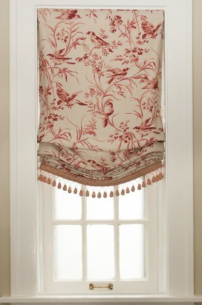 Window treatment, Roman shade, relaxed Roman shade, shades, London shade, tassels, curtain drapes,