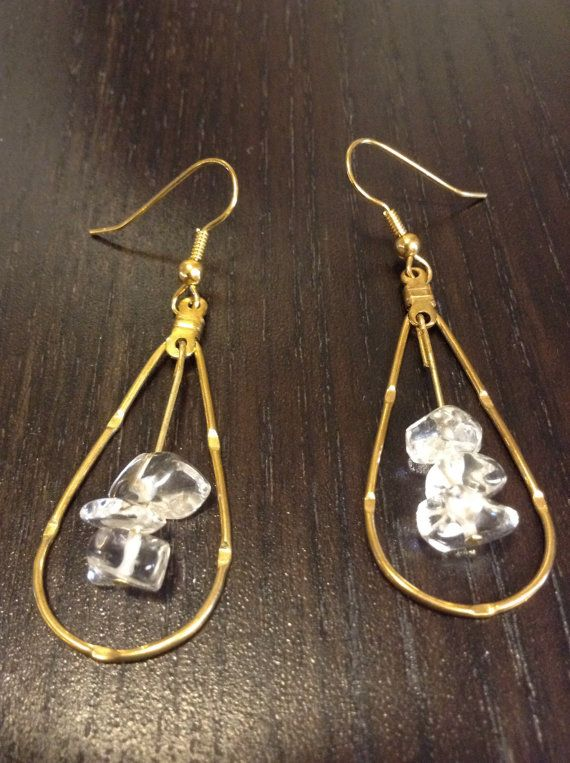 Dangling Earrings with Quartz in Teardrop by M1CreativeCreations
