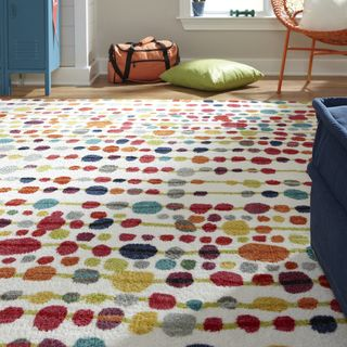 This might be good for the floor with the bunks.  That way I can pick something easy on the eyes for the blankets and it is gender neutral.  Like it.