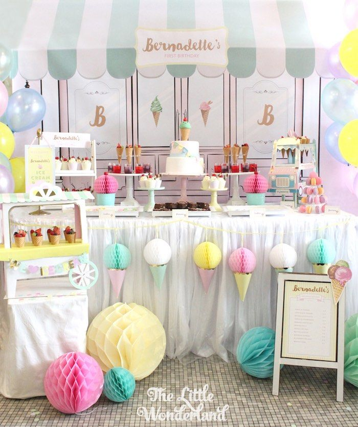 Sweet Table From An Ice Cream Parlor Birthday Party Via Karau0027s Party Ideas  KarasPartyIdeas.com Part 57