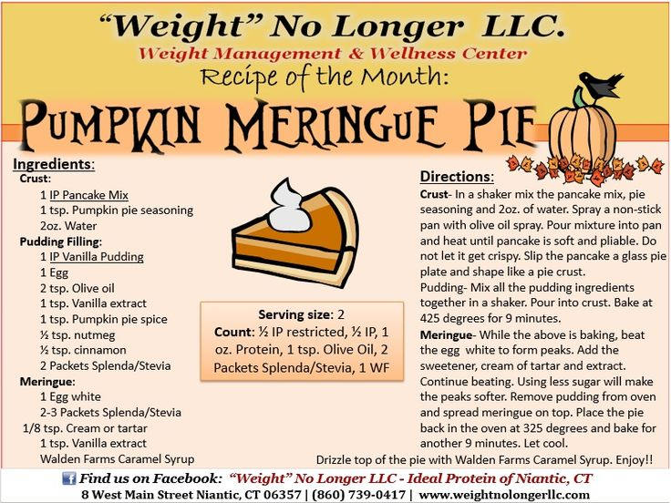 Recipe of the Month: An Ideal Protein friendly  Pumpkin Meringue Pie