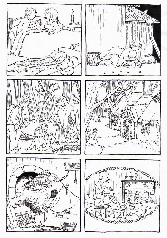 6 images séquentielles de Hansel et Gretel de Grimm