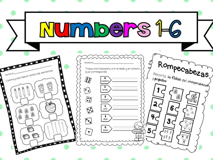 Have your students review numbers from 1 to 6. Print these three worksheets and work a whole math lesson with them. Fun Math!