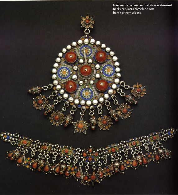 Great Kabylia, northern Algeria | Top; Fibula or forehead ornament.  Silver, enamel and coral.  Bottom; Necklace.  Silver, enamel and coral.  | From the Colette and Jean-Pierre Ghysels Collection, and this photo is included in the publication 'The Splendour of Ethnic Jewelry'