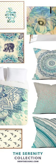 If calm and serene home decor is your style, then DENY Designs has the perfect bedding set for your tranquil master bedroom. Relax in comfort with a blue floral duvet cover,  complementary pillow shams, and unique blue cushions. The mandala bedding pairs perfectly with elephant artwork, floral credenza, and typography wall art. The Serenity Room Collection by DENYDesigns.com is a little global, a little bohemian, and a whole lot peaceful.