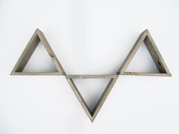 triangle shelves - bedroom