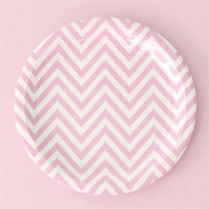 Chevron Pink Large Party Plate, chevron paper plates