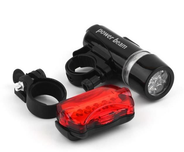 Waterproof Bike Bicycle Lights 5 LEDs Bike Bicycle Front Head Light Safety Rear Flashlight Torch Lamp Black bike accessories