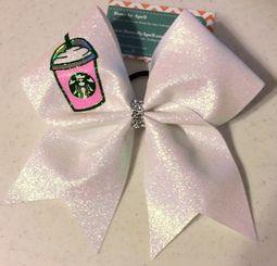 Starbucks Frappe Frappuccino Full Glitter Cheer Bow