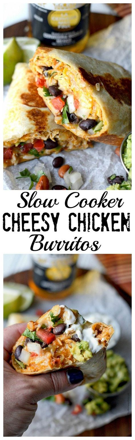 These slow cooker cheesy chicken burritos are AH-mazingly delicious and super easy!