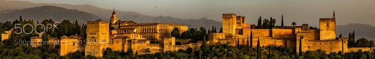 """Alhambra... by thePotsdamer from http://500px.com/photo/215453829 - A true magic place... must see world heritage site... """"How lazily the sun goes down in Granada it hides between the water it conceals in the Alhambra!"""" Ernest Hemingway . More on dokonow.com."""