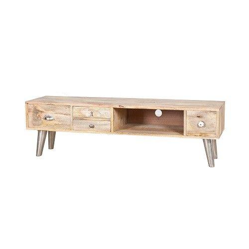 Eigentijds strak vormgegeven TV meubel van licht mango hout. Voorzien van tapse Aluminium pootjes. Dit meubel heeft 4 lades, verschillend in afmeting, en 1 open vak. De verschillende greepjes geven een speels effect Afmeting BxDxH = 140x35x44 cm
