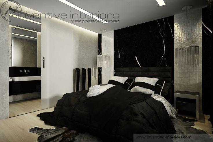 Projekt apartamentu 130m2 Inventive Interiors - nastrojowa sypialnia w czerni