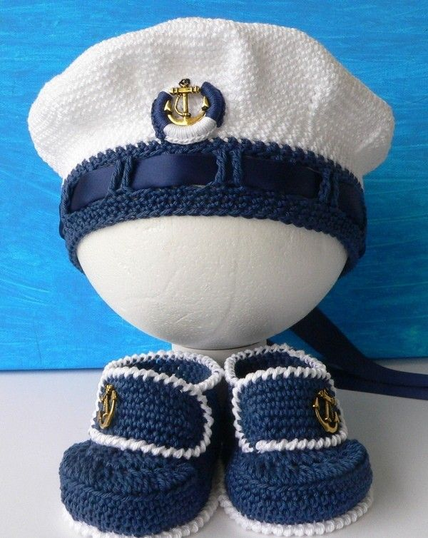 Kapitänsmütze häkeln // Matrosen-Mütze häkeln