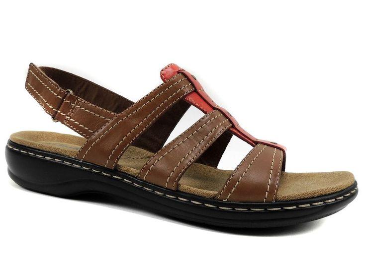 Clarks of England Women's Leisa Daisy Slingback Sandals Brown Leather Size 9.5 M #ClarksofEngland #SportSandals #CasualSummerVacation