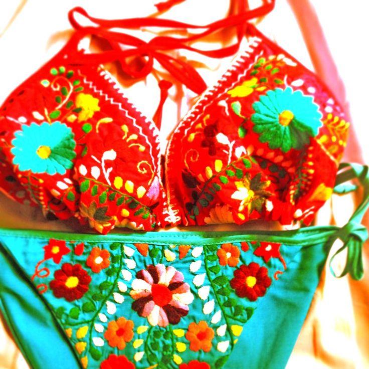 Mexican Love embroidered bikini floral hippie bohemian chic by aidacoronado.com