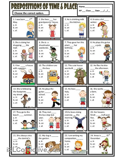 Prepositions of time and place: a multiple choice activity.