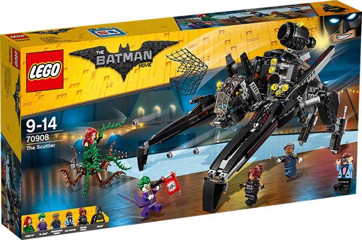 LEGO THE BATMAN MOVIE 70908 Scuttler Der er opstået en nødsituation! Jokeren, Poison Ivy og hendes slyngplantemonster er dukket uanmeldt op til politichef Gordons afskedsfest og har taget gidsler. Spring ind i cockpittet på den fantastiske Scuttler med Batman, og pil afsted for at redde dem. Affyr knopskyderne, og monter den skjulte jetpack for at flyve ud i duel med Jokeren. Befri politichef Gordon, Barbara Gordon og Dick Grayson, og fang skurkene med Scuttlerens netskyder!