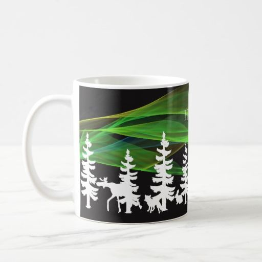 Hygge nordic woods in white with northern lights, coffee mug