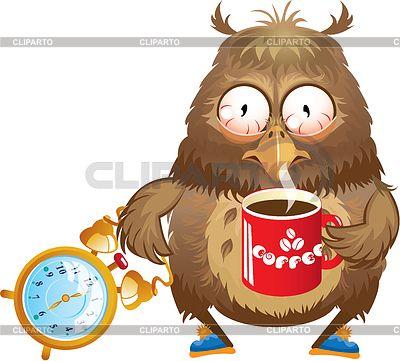 Ранние утренние часы - смешно сова с чашкой кофе   Векторный клипарт   ID 3720579
