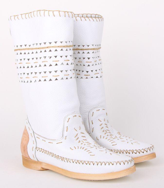 Giemme Белые кожаные женские сапоги бренда Giemme