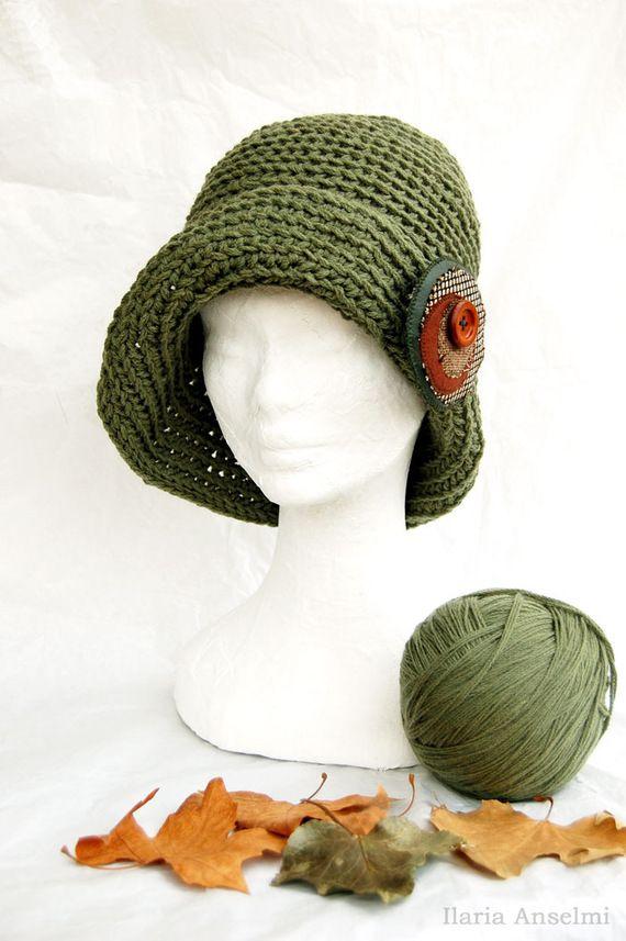 Cappello cloche lana verde giada retrò vintage uncinetto con spilla recycle