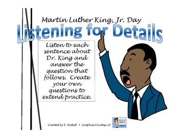 Free Download! Martin Luther King, Jr. Day Listening for Details  Pinned by SOS Inc. Resources @sostherapy http://pinterest.com/sostherapy.