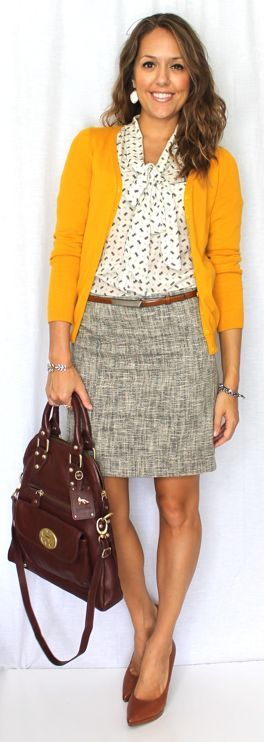 Tweed skirt, printed blouse and yellow cardigan.  J's Everyday Fashion