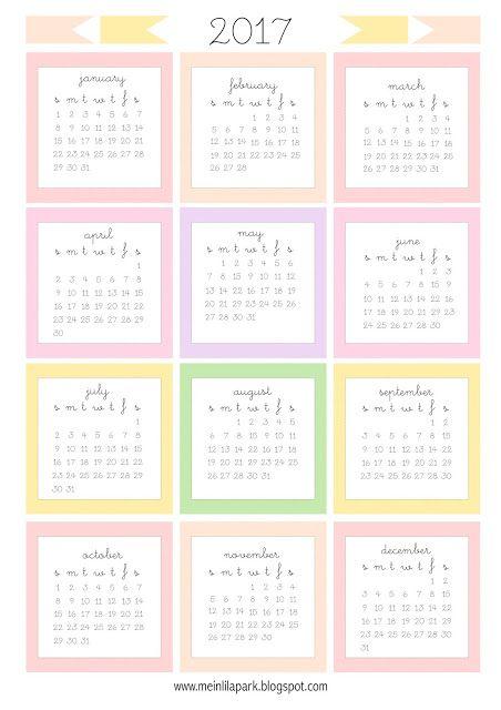 Free printable 2017 mini calendar cards - bullet journal stickers - freebie | MeinLilaPark – DIY printables and downloads