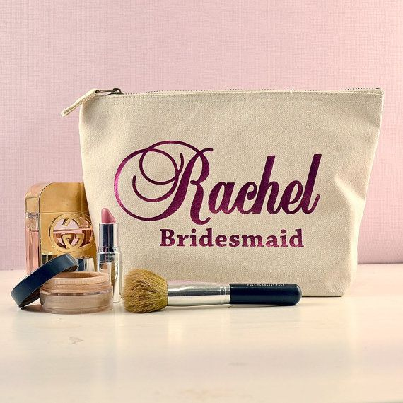 Ivory Personalised Bridesmaid Gift Make Up Bag by HanmadeDesignsUK