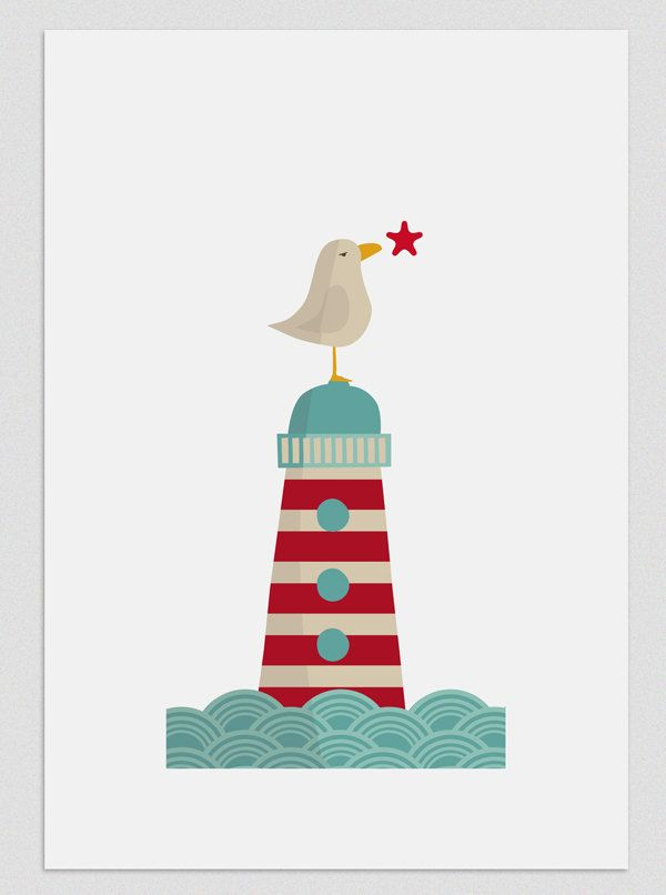Illustration. Dreamy seagull. $20,00, via Etsy.