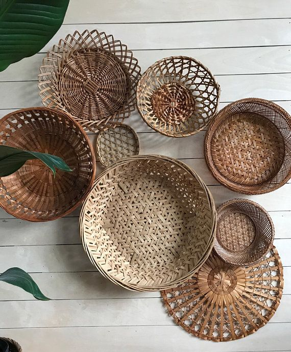Basket Wall Art Bamboo Basket Wicker Basket Set Boho Basket Wall Art Basket Wall Decor Bamboo Wall Decor